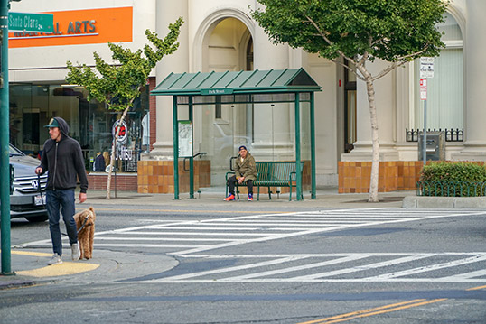 Image of a bus shelter with a person sitting on a bench waiting for the bus.