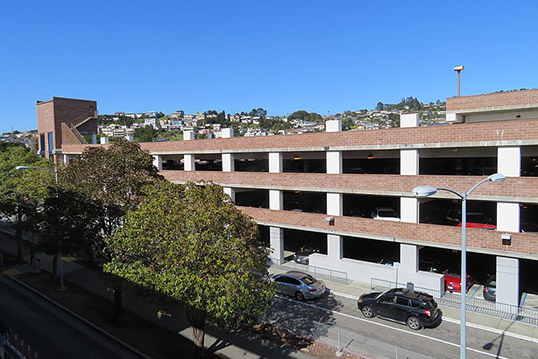 Image of a four story parking garage