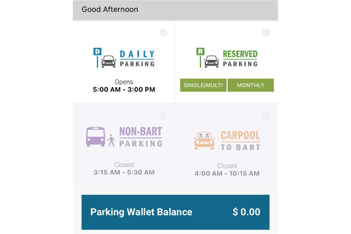 Screenshot image of the parking feature in the BART official app.