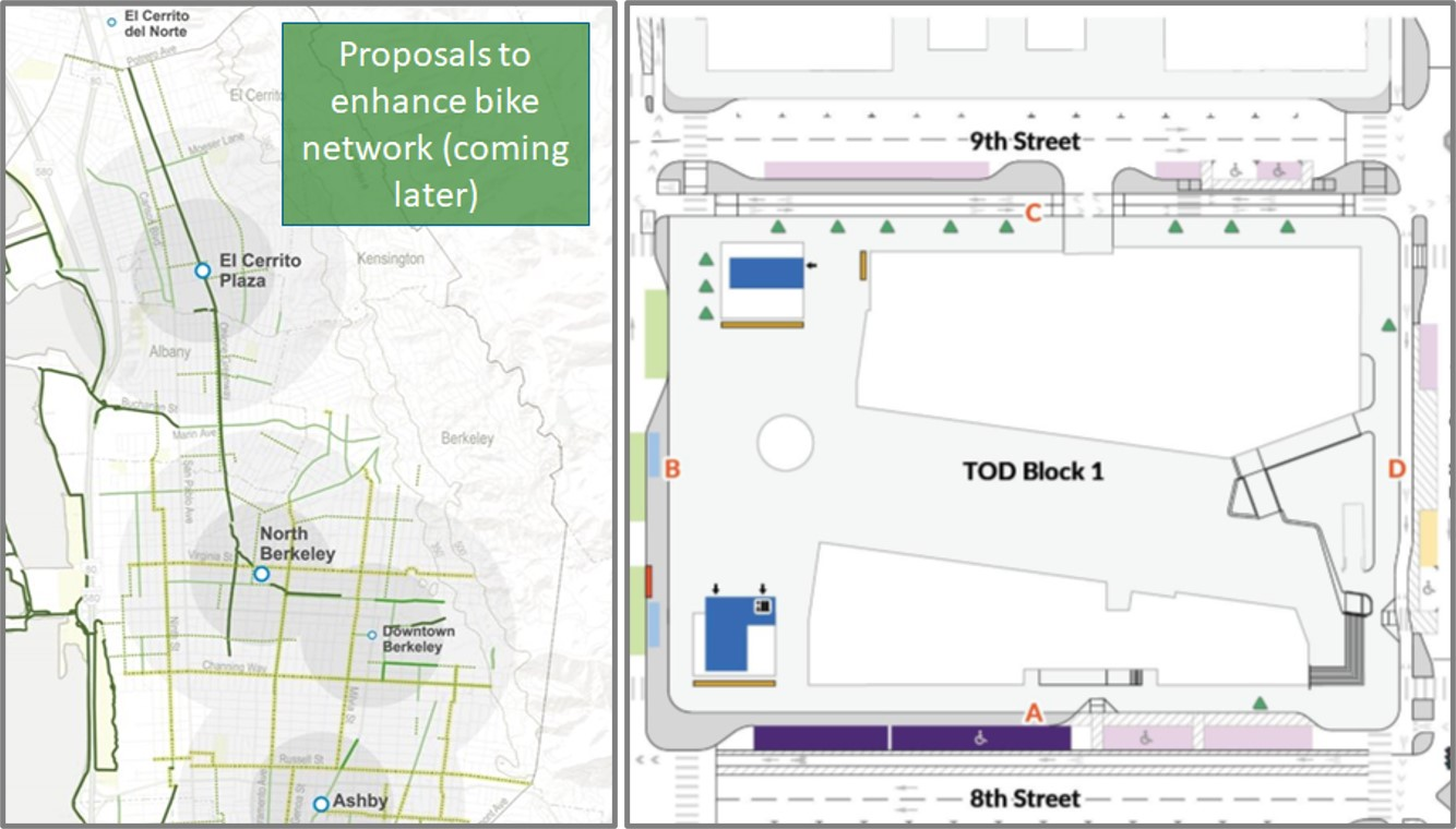 Two graphics side by side. On the left is a map of El Cerrito and Berkeley areas, showing BART stations and connections for people who ride their bikes in the area. On the right is a diagram of access improvements proposed for the Lake Merritt BART station.