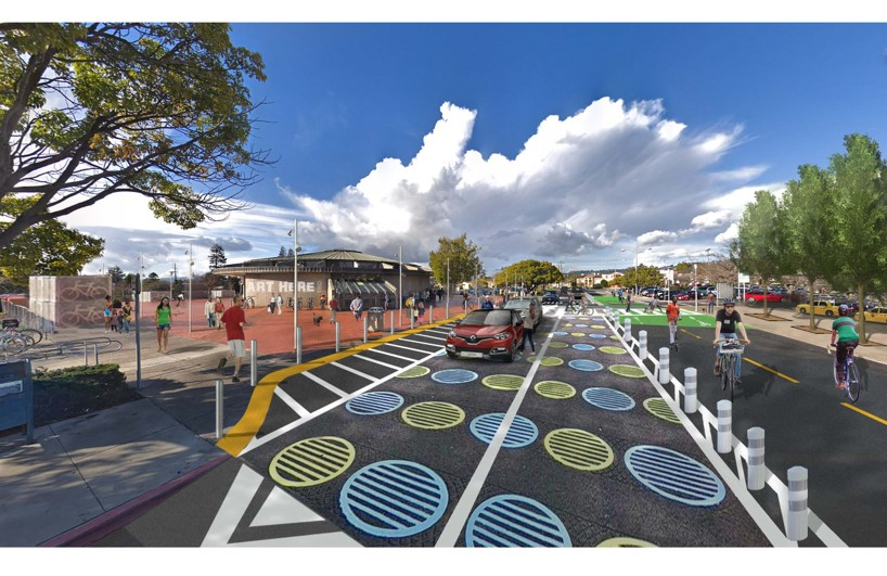 Image of a conceptual design of bike improvements for the area around the North Berkeley BART station.