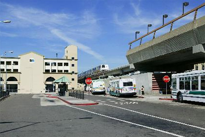 Street-view image of Fruitvale station parking garage.