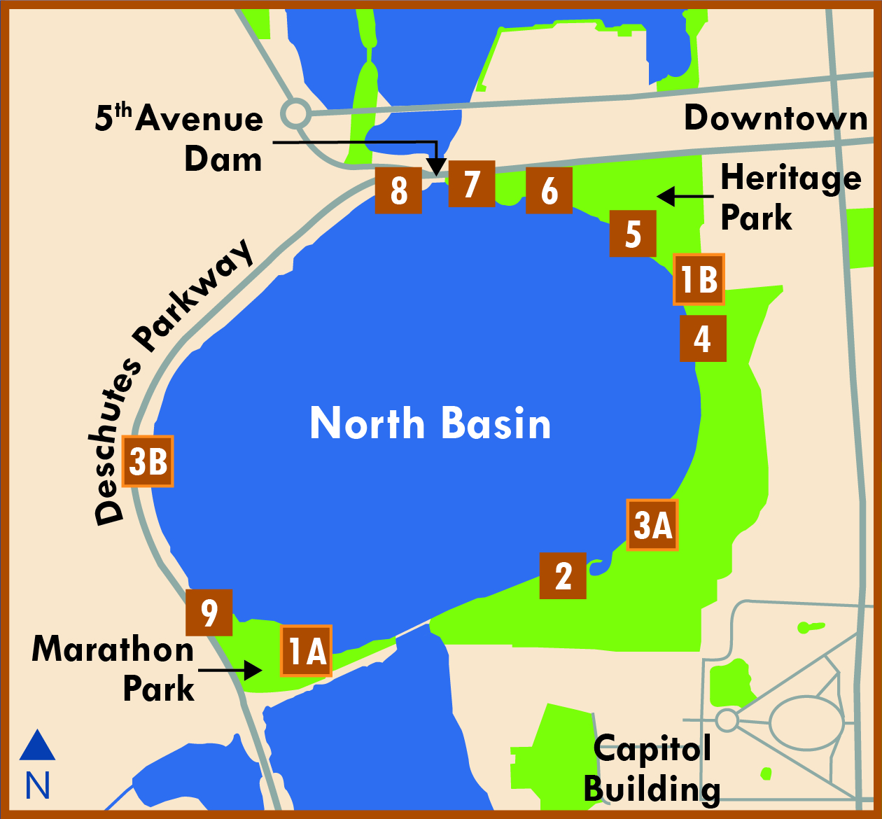 Kiosks are located in 11 locations along all sides of the North Basin along the Heritage Park Trail Look.