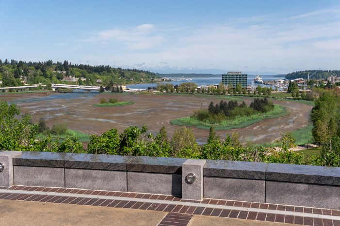 A visual simulation of the Estuary Alternative, looking north toward the North Basin and Budd Inlet. The visual simulation was generated to represent the potential viewshed from a North Overlook on the Washington State Capitol Campus. There is very little water in the Basin and the predominant habitat showing is tideflats; there are habitat areas along the eastern shoreline. Birds and new 5th Avenue Pedestrian and vehicle bridges can be seen in the distance.